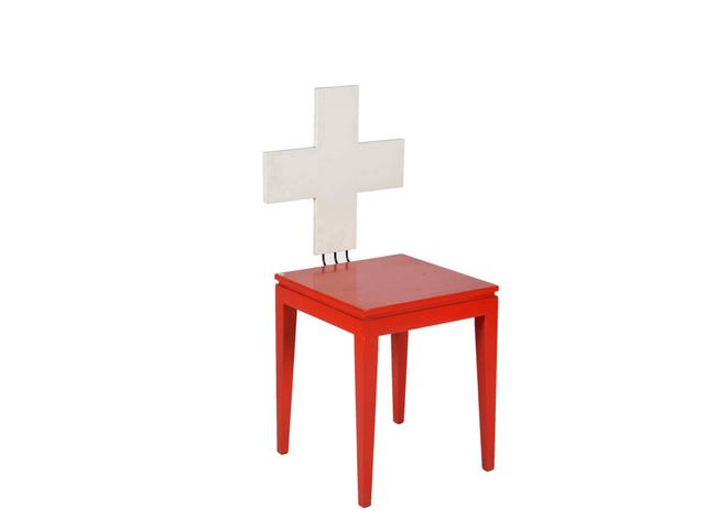 Curieuse Chaise Rouge Et Blanche
